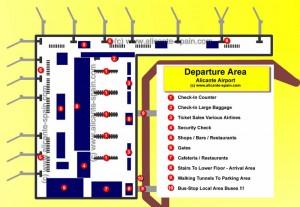 Alicante Airport Departure Area Map