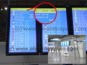 Monitors Displaying Check In Desk Numbers for Each Airline At Alicante Airport