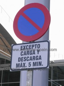 Parking prohibited at Departures Area Alicante Airport