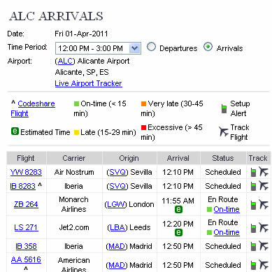 flights to alicante live