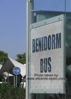 sign of benidorm bus stop at the airport of alicante
