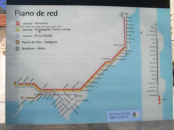 Click here to enlarge View of Alicante Tram Map