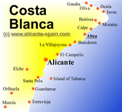 Map of Altea along the Costa Blanca