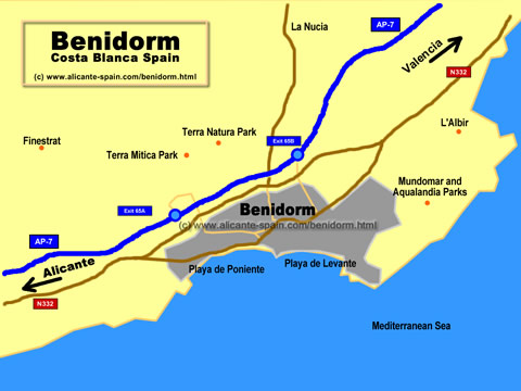 Map of the City of Benidorm in Spain