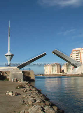 Bridge crossing La Manga to access the Mar Menor