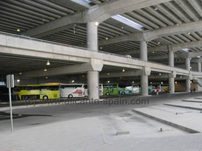 Bus Stops for charter and tour buses at lower level alicante airport