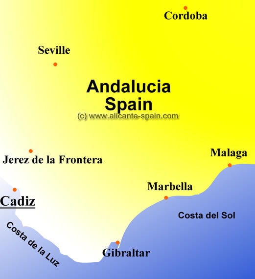 Area Map of Cadiz Spain