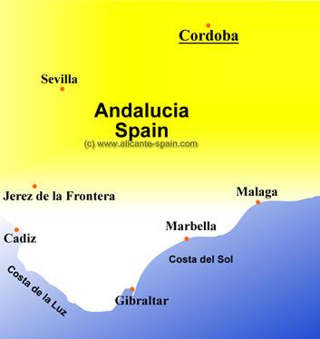Cordoba and Andalucia Map large