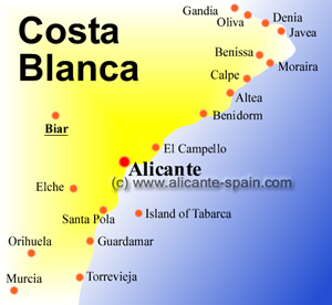 Map of Biar and the Costa Blanca area