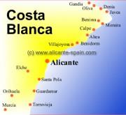Map of Benidorm Area Around The Costa Blanca in Spain