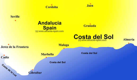 Costa del sol spain map imsa kolese for Costa sol almeria