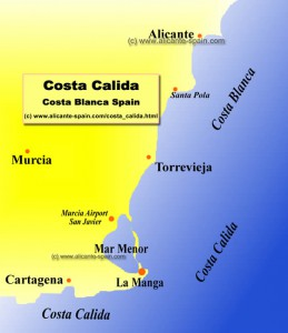 Location of La Manga del Mar Menor at the Costa Calida in Spain
