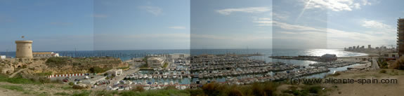 The beach and harbor of el campello in Spain