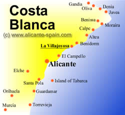 Map of la villajoyosa and Costa Blanca Spain