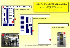 Map of Service Points for People with Disabilities at Alicante Airport
