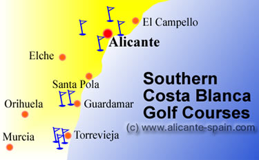 Torrevieja golf courses map to Alicante southern costa blanca