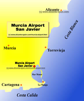 Map of the Murcia San Javier Airport