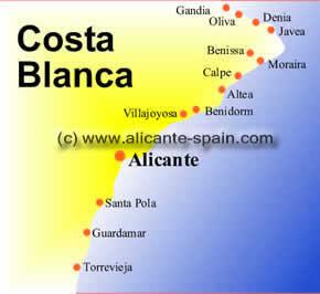 Beach map of Spain
