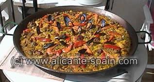 spanish paella in pan