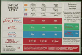 Click here to see larger photo of daily entrance prices